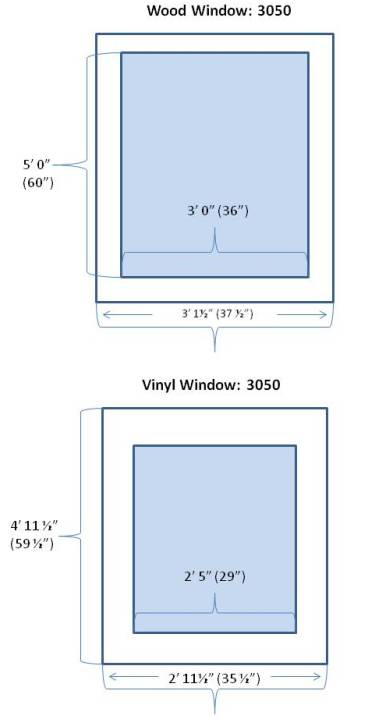 wood and vinyl window sizes differ
