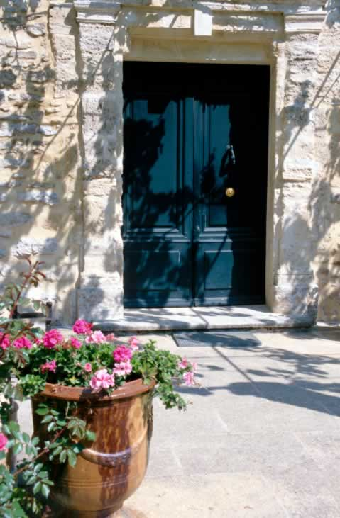 Oversized Dark Teal Exterior Double Doors with Two Panels
