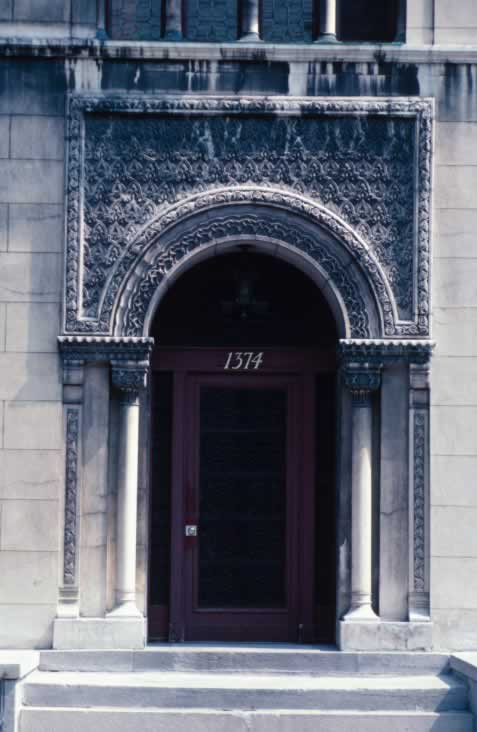 Beautiful Carved Stone Entrance with Ten Panel Door of Red Leaded glass
