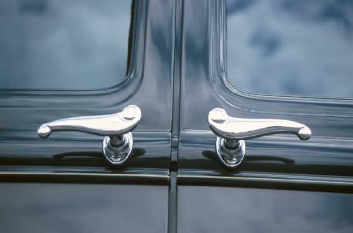 High-Gloss Black Exterior Double Doors with Nickel Door Handles