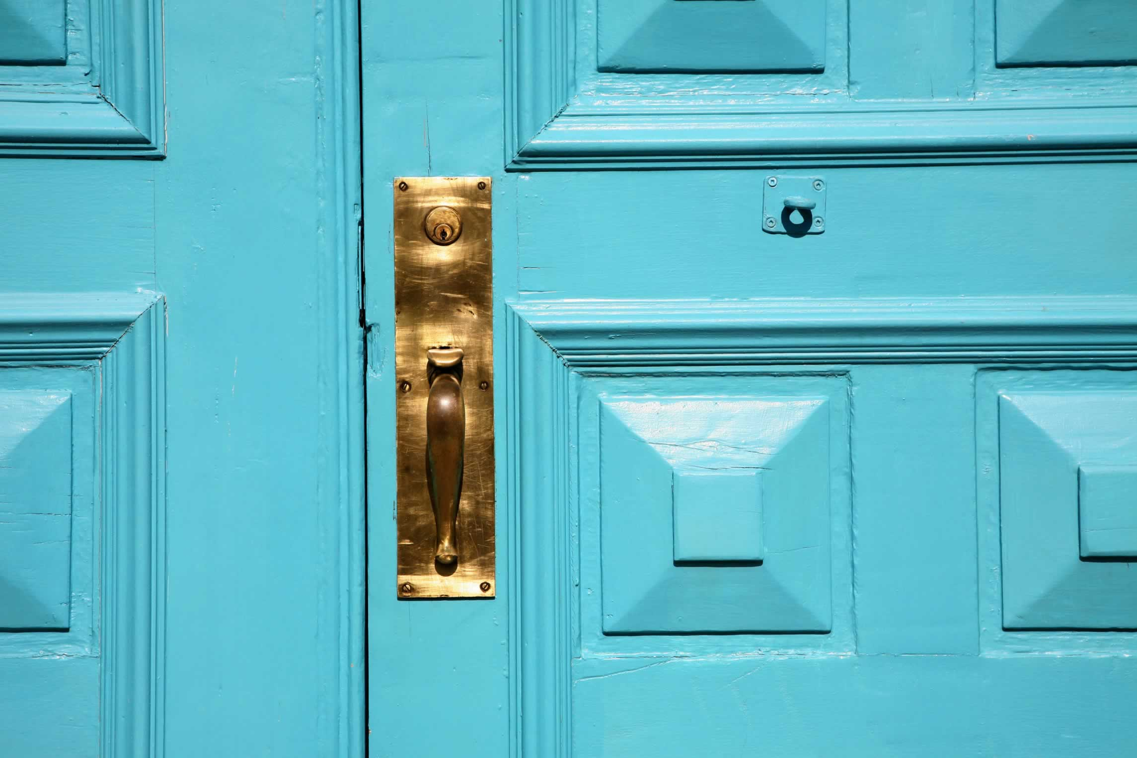 Turquoise Double Panel Doors with Bolection and Art Deco Details