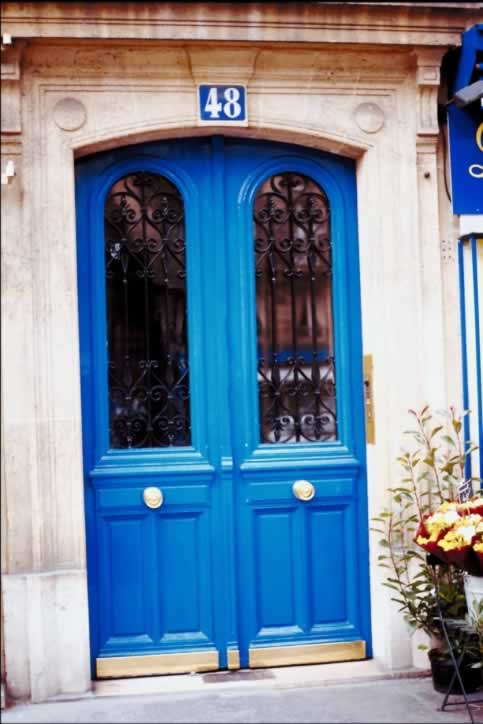 Double Blue Exterior Doors with Arched Lites with Grilles