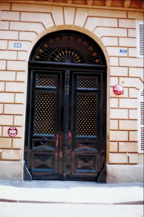 /doors/types/glass/glossy-black-double-exterior-doors-fanlight-arrows.php