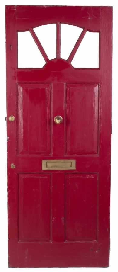 Red Exterior Door with Five Panels and an Antique Brass Mail Slot