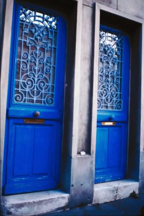 Matching Two Panel Two Toned Blue Doors with Lites and Grilles