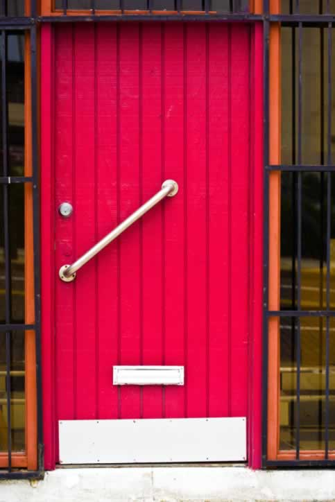 Screaming Pink Plank And Batten Wooden Exterior Door With Stainless Steel  Hardware