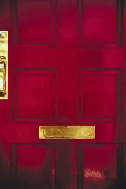 Red Eight Panel Exterior Door with Shiny Brass Handle and Mail Slot