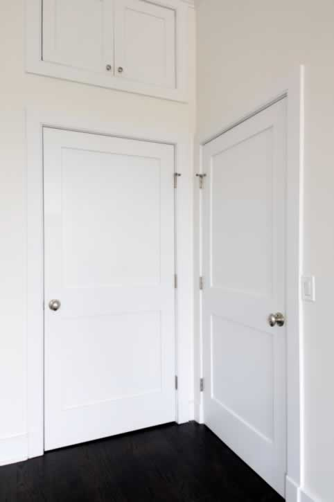 White Interior Doors at 90 Degree Angle with Matching Double Cabinet Doors