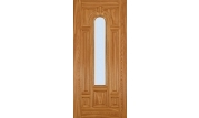 Oak 7 Panel Center Arch Lite Door