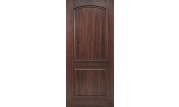 Sierra 2 Panel Plank Camber Top Door with AvantGuard Black Walnut Finish