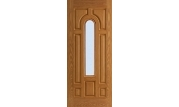 Textured 7 Panel Center Arch Lite Door