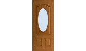 Textured 3 Panel Arch Top Door 3/4 Oval