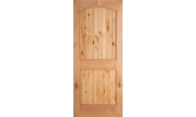 2 Panel Plank Camber Top Knotty Alder Door